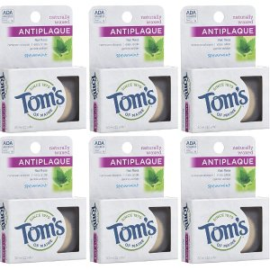 Tom's Of Maine Anti Plaque Flat Spearmint Floss, pack of 6