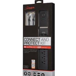 $29.99(原价$79.99)Rocketfish 防过载家用接线板 附带HDMI连接线