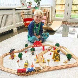 $44.19包邮(原价$51.99)Tiny Land 木质轨道玩具套装 嘟嘟嘟 搭上小火车出发啦