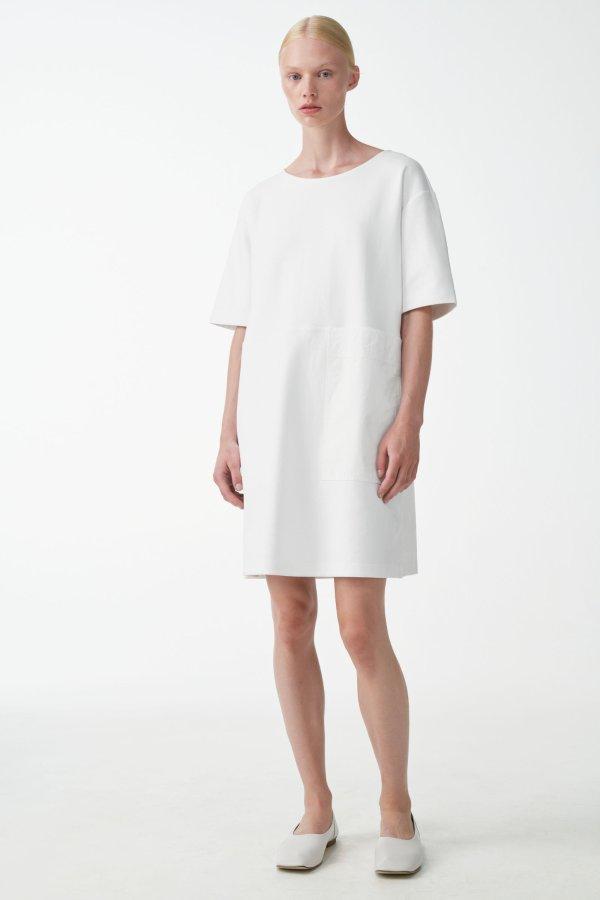 白色口袋连衣裙