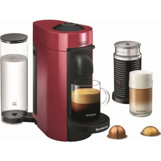 Nespresso - VertuoPlus Coffee Maker and Espresso Machine with Aeroccino Milk Frother by DeLonghi - Cherry Red @ Best Buy