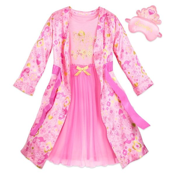 迪士尼公主风儿童豪华睡裙+睡袍+眼罩