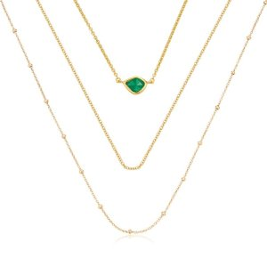 Monica VinaderGold Vermeil Siren Mini Nugget, Fine Chain and Beaded Chain Necklace Set | Jewellery Sets | Monica Vinader
