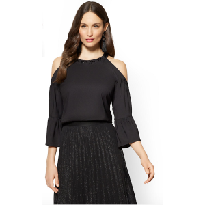 New York & Company7th Avenue - Embellished Cold-Shoulder Halter Blouse - New York & Company