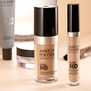 无门槛送5件套,部分5折Make Up For Ever 专业化妆师品牌 入油皮亲妈水粉霜