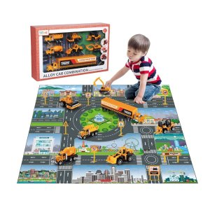 TEMI 儿童工程施工车辆玩具套装+游戏垫,四个主题可选