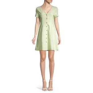 Vero ModaLinen Short Sleeve Button Front Dress