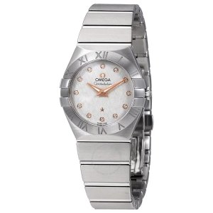 OmegaConstellation Silver Diamond Dial Ladies Watch