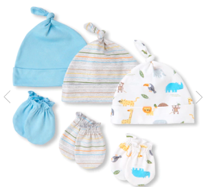 Baby Boys Safari Coast Knotted Hat And Mittens 6-Piece Set