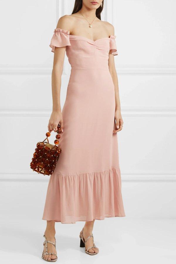 Butterfly蝴蝶袖一字肩连衣裙