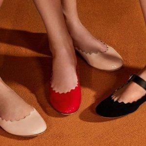 $395 黄金码有货Chloé 茶粉色花瓣平底鞋 定价优势