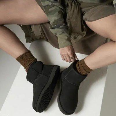UGG 黑色迷你经典短靴