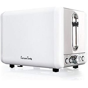 Amazon.com: Toaster, Fortune Candy KST009 White Toaster 2 Slice, Stainless Steel Toaster with Extra Wide Slots, Removable Crumb Tray, High Lift Lever, Bagel Defrost Reheat Cancel Function, 6 Toast Shade Settings: Kitchen & Dining