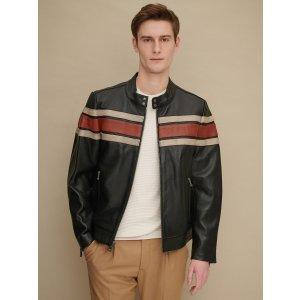 Wilsons LeatherDale Retro Striped Leather Jacket