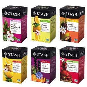 Stash Tea Fruity Herbal Tea 6 Flavor Tea Sampler 6 oks