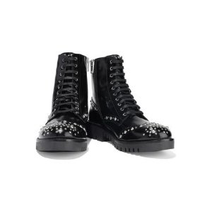 MCQ ALEXANDER MCQUEENBess studded glossed-leather ankle boots