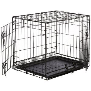 Double-Door Folding Metal Dog Crate - Large (42x28x30 Inches)