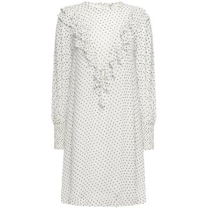 Ganni晒货同款白色波点小裙子