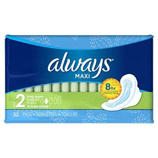 Always Maxi Feminine Pads for Women, Size 2, Long, Super Absorbency, with Wings, Unscented, 32 Count