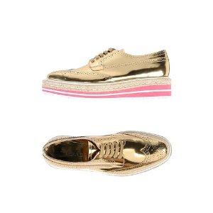 Prada金色厚底鞋
