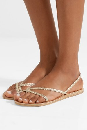 Ancient Greek Sandals | Yianna braided metallic leather sandals | NET-A-PORTER.COM