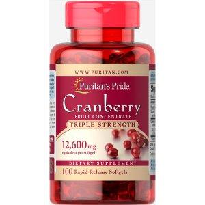 Puritan's PrideTriple Strength Cranberry Fruit Concentrate 12,600 mg 100 Softgels | Fall Blowout | Puritan's Pride