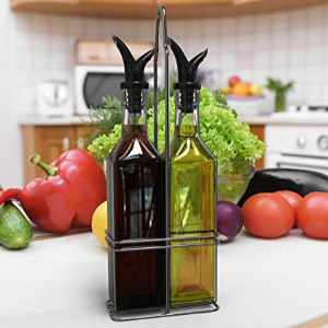 $8Royal Oil and Vinegar Bottle Set with Stainless Steel Rack and Removable Cork