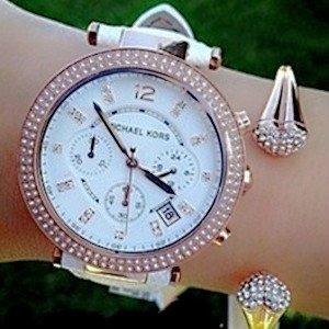 低至4.5折限今天:Michael Kors  时尚女表促销特卖 收Parker系列水晶女表