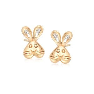 Ross-SimonsChild's 14kt Yellow Gold CZ-Accented Bunny Stud Earrings | Ross-Simons