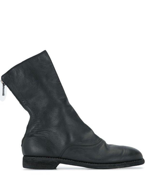 后拉链踝靴