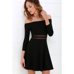 Yes to the Mesh Black Skater Dress