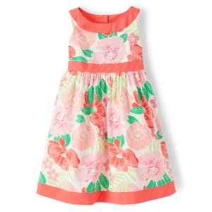 GymboreeGirls Sleeveless Floral Print Poplin Dress - Fairy Blossom