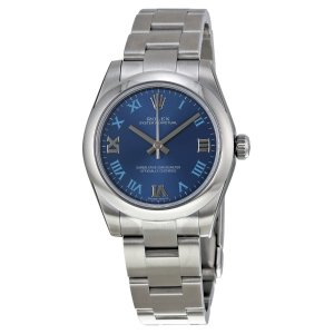 RolexOyster Perpetual 31 mm Azzuro Blue Dial Stainless Steel Bracelet Automatic Ladies Watch 177200BLRO