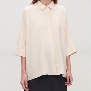 DRAPED WIDE-FIT SHIRT - Blush - Shirts - COS