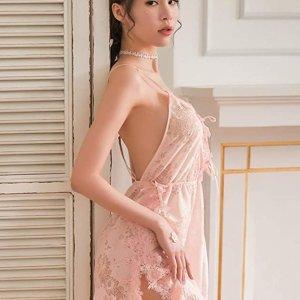 粉色款 $25.98Polly Online 女士性感蕾丝睡裙 超美露背设计