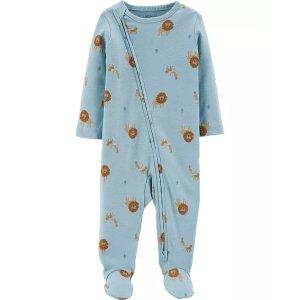 Carter's婴儿有机棉包脚连体衣