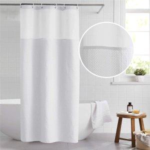 Bedsure Fabric Shower Curtain White Waffle Weave Shower Curtain
