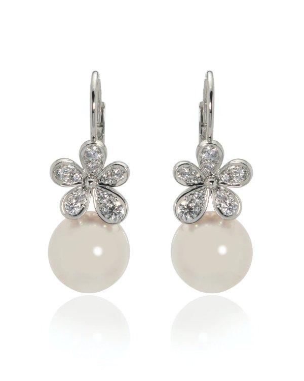18K白金钻石珍珠耳环