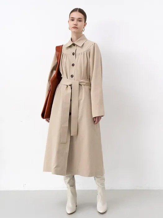 腰带法式风衣