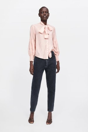 POLKA - DOT TIE BLOUSE-View All-SHIRTS | BLOUSES-WOMAN | ZARA United States