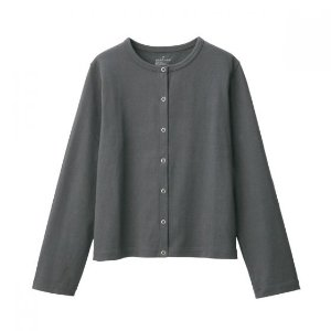 Women Organic Cotton Coarse Yarn Jersey Cardigan