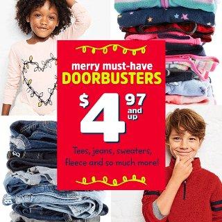 $4.97起+包邮 还可用Fun Cash抵钱白菜价:卡特姐妹店OshKosh BGosh儿童T恤、牛仔裤、抓绒上衣、裤子等Doorbutser特卖