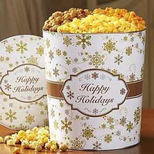 The Popcorn FactoryGold Snowflake Popcorn Tins from The Popcorn Factory