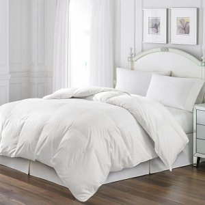 Blue Ridge White Goose Feather Comforter and Quilted Pillow Set