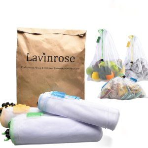 $8.49(原价$9.99)Lavinrose 果蔬网袋9件套 可重复使用 2种尺寸可水洗
