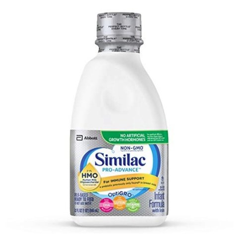 Similac Pro-Advance Non-GMO with 2'-FL HMO Infant Formula Ready-to-Feed, 1qt Bottles (Pack of 6) @ Amazon