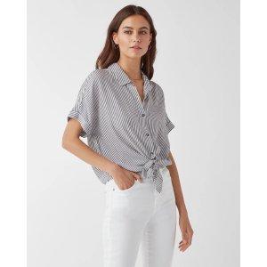 SplendidCanyon Short Sleeve Stripe Button Up Shirt