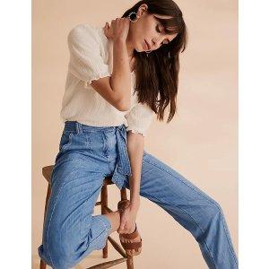 买2件,第三件5折Pure Cotton Utility绑带牛仔裤