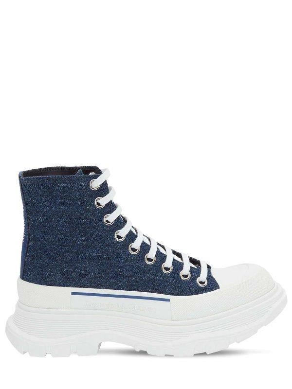 牛仔帆布厚底鞋