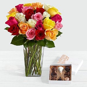 $20.97Two Dozen Colorful Roses with Red Ombre Vase